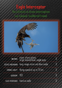 DroneClash Top Bumps card illustrating drone-intercepting eagle